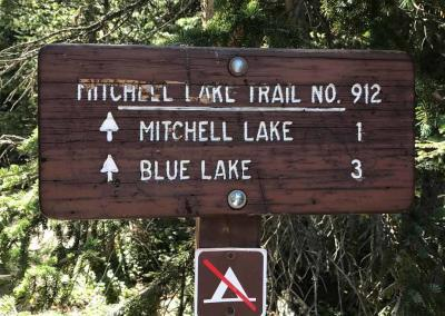 Mitchell Lake Trail head Sign